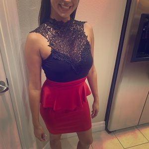 Windsor dress black lace and red peplum medium